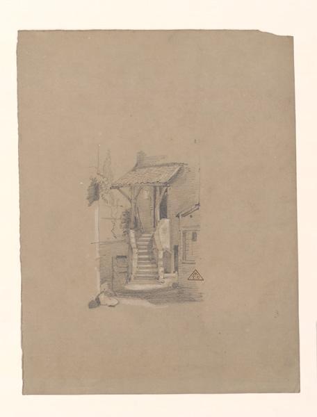 BRUNCLAIR Eugène (dessinateur, peintre) : Escalier d'entrée d'une maison du Tertre