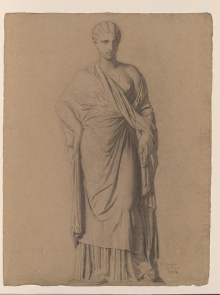 Figure de femme debout drapée, d'après une statue romaine_0