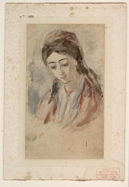 CROS Henri (dit), CROS César Isidore Henry (patronyme) : Jeune femme en buste, les yeux baissés