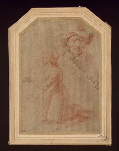 RIDOLPHO Michele di (dessinateur) : Femme en prière de profil et tête d'homme de face