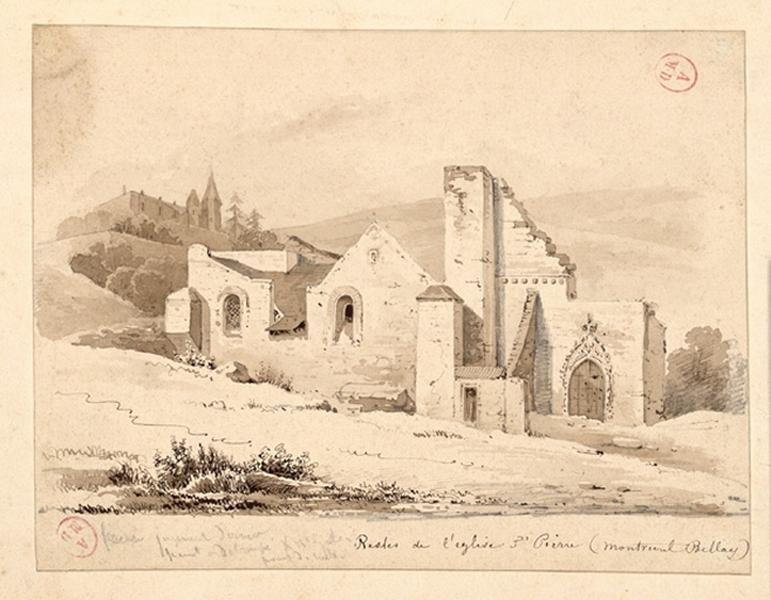 anonyme (dessinateur) : Ruines église Saint-Pierre à Montreuil-Bellay