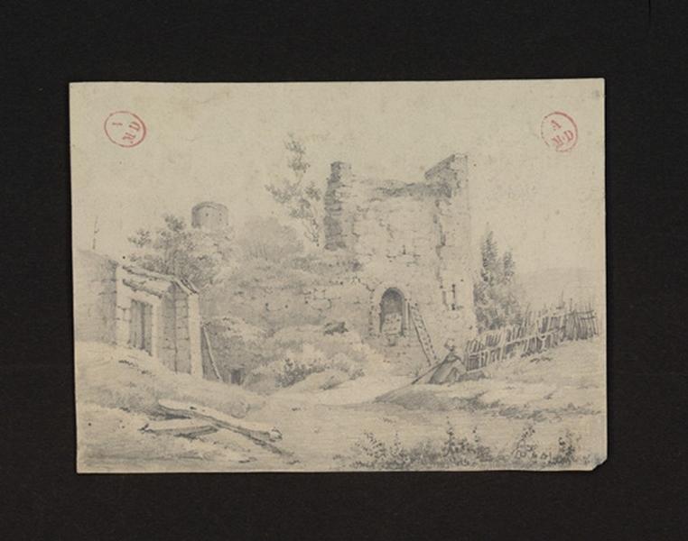HAWKE Peter (attribué, dessinateur) : Ruines église Saint-Pierre à Montreuil-Bellay