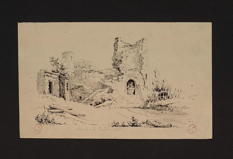 HAWKE Peter (dessinateur) : Ruines église Saint-Pierre à Montreuil-Bellay