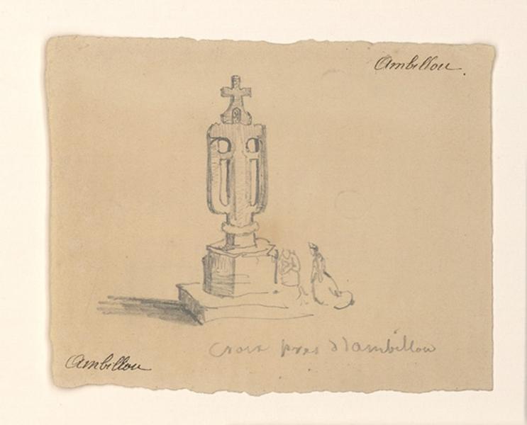 HAWKE Peter (dessinateur) : Croix de chemin à Ambillou-Château (Au recto), Ancien bénitier de Notre-Dame-d'Allençon (Au verso)