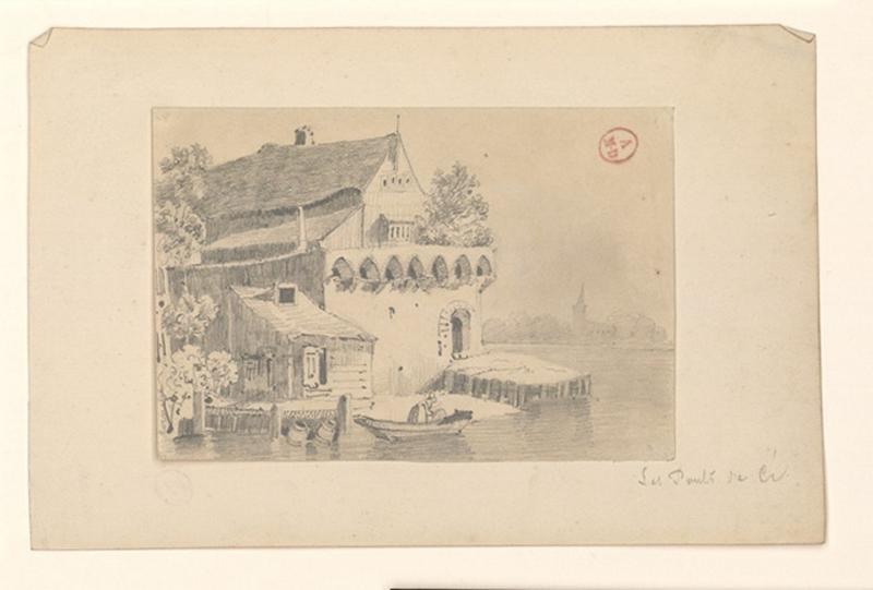 HAWKE Peter (attribué, dessinateur) : Vieille maison aux Ponts-de-Cé