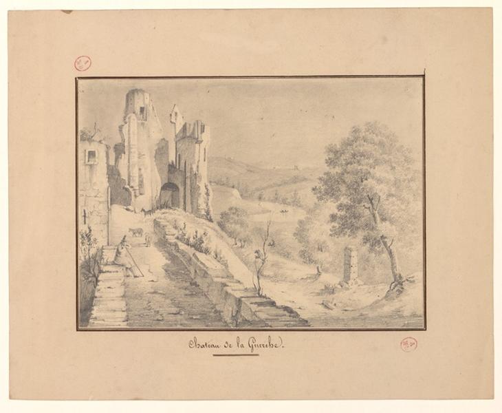 J D (dessinateur), LESOURD Ernest (dessinateur, lithographe) : Ruines du château de la Guerche