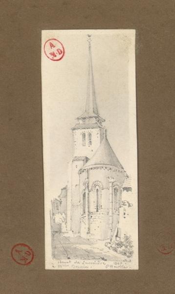 HAWKE Peter (dessinateur) : Chevet de l'église de Savennières