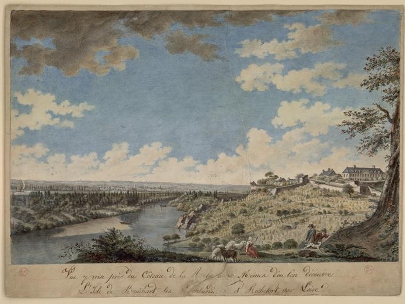 DELUSSE Jean-Jacques (d'après, dessinateur) : Vue prise près du coteau de la Roche-aux-Moines