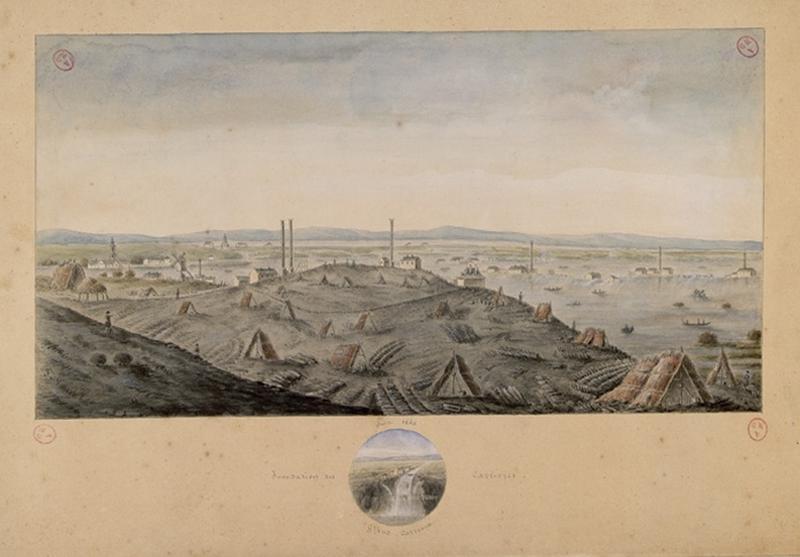 VILLERS Jacques François (d'après, dessinateur, architecte), MOULLIN Louis (attribué, dessinateur, lithographe), LECERF Julien (d'après, lithographe) : Les ardoisières d'Angers pendant l'inondation de 1856