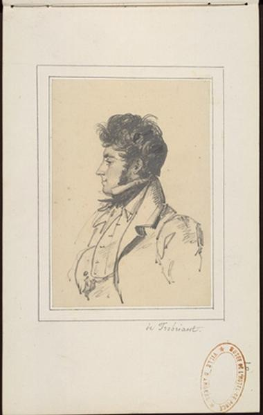 THOREL Cécile Marie (dessinateur) : Buste d'homme de profil à gauche