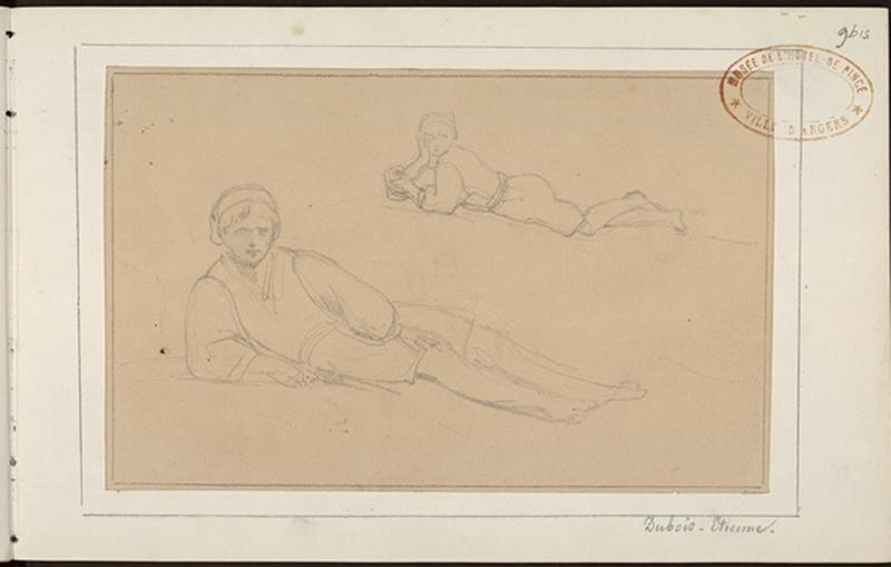DRAKE Thomas François (dessinateur) : Deux études de jeune homme couché
