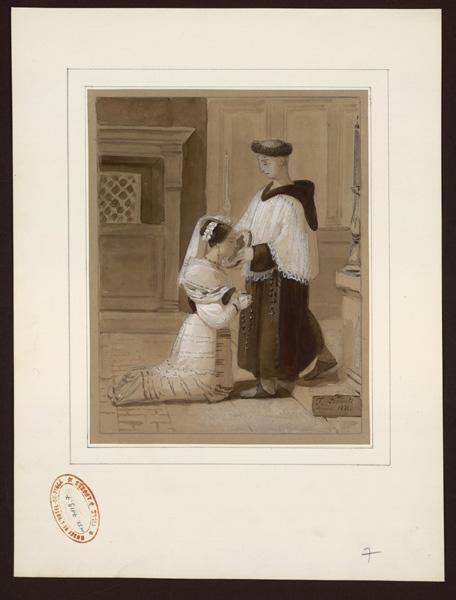 DUBOIS François (dessinateur) : Femme agenouillée embrasse l'effigie d'une vierge