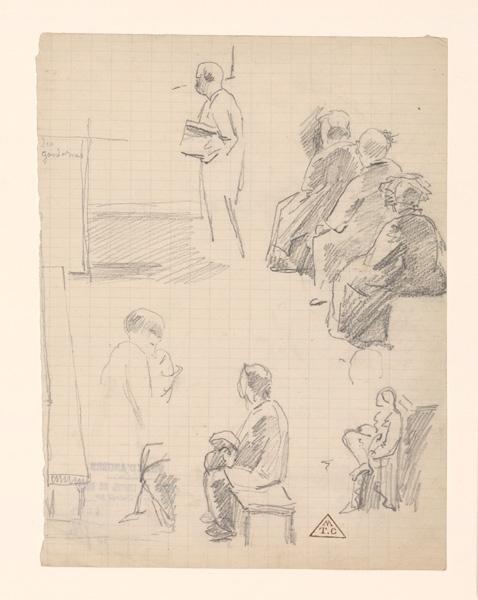 BRUNCLAIR Eugène (dessinateur, peintre) : Croquis de cour d'assise, Croquis d'audience