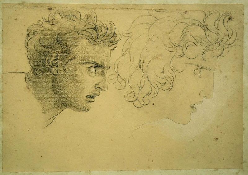 Double étude pour le visage d'Egiste ; Deux études pour la tête d'Egisthe ; Têtes vue de profil (titre Jouin, 1881)
