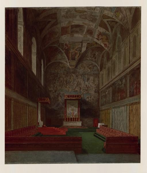 LENEPVEU Jules Eugène (dessinateur) : Vatican, vue de la chapelle Sixtine