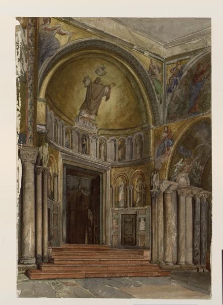 LENEPVEU Jules Eugène (dessinateur) : Venise, entrée de la basilique Saint-Marc