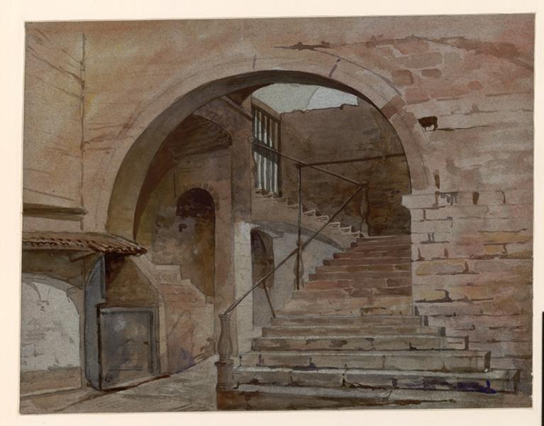 LENEPVEU Jules Eugène (dessinateur) : Assise. Escalier sous voûte, Escalier sous voûte dans monument qui semble être à ciel ouvert (autre titre)