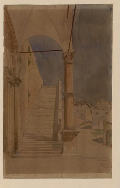 Assise, escalier extérieur de la basilique Saint François (Escalier droit qui semble monter à un étage qui n'existe plus)