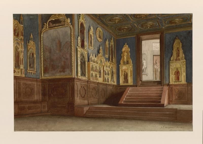 LENEPVEU Jules Eugène (dessinateur) : Venise, intérieur de Palais, l'Académie