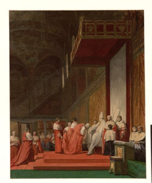 Une cérémonie à la Chapelle Sixtine (Les cardinaux s'inclinent devant le Pape qui est sur son trône)_0