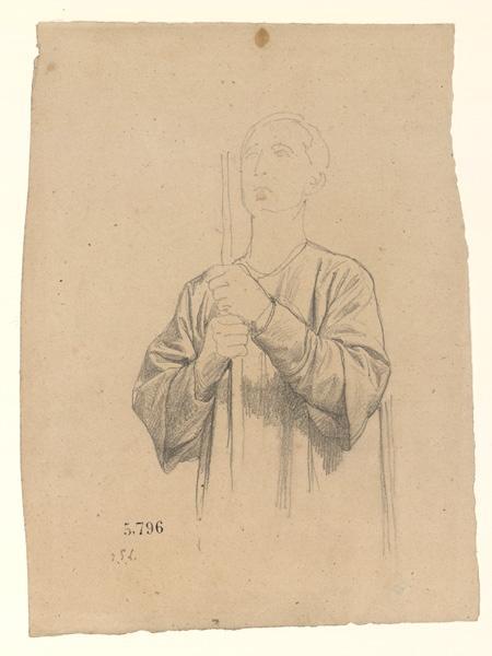 Figures pour la peinture murale de la chapelle Sainte Marie ; Jeune homme portant une croix