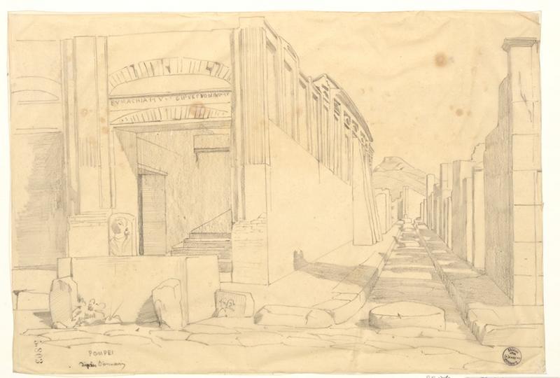 LENEPVEU Jules Eugène (dessinateur) : Monuments, figures : Maisons et vue à Pompéi