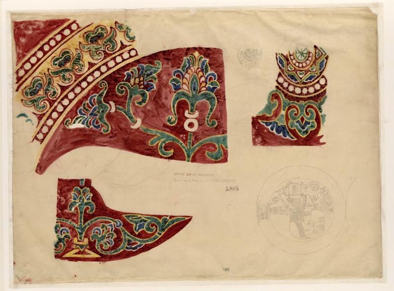 LENEPVEU Jules Eugène (dessinateur) : Détails de la draperie de Charlemagne