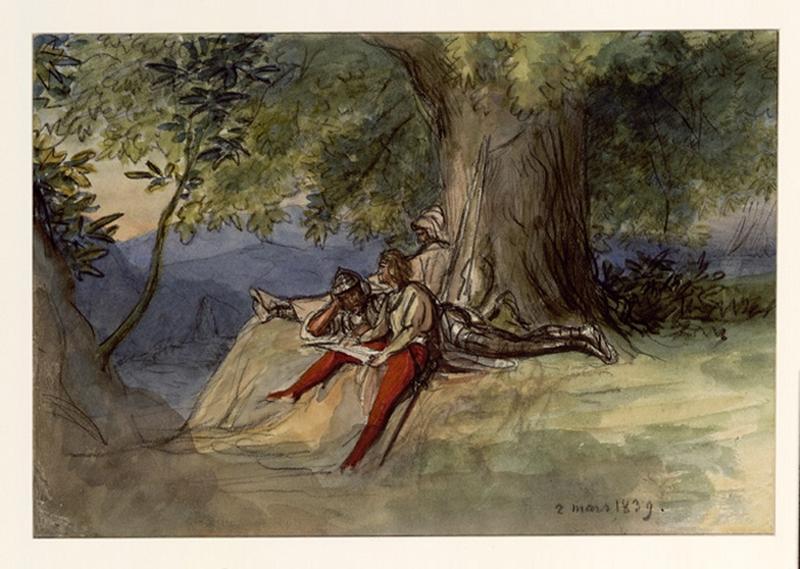 Trois guerriers se reposent et devisent au pied d'un arbre (trois guerriers se reposent et devisent au pied d'un gros arbre)