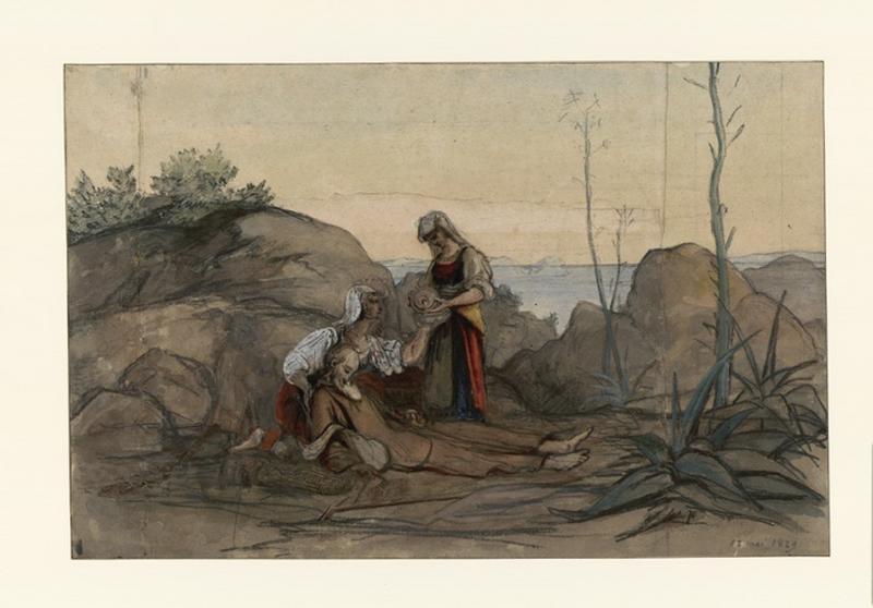 Deux italiennes secourent un vieux moine étendu sur le sol parmi des rochers, au bord de la mer_0