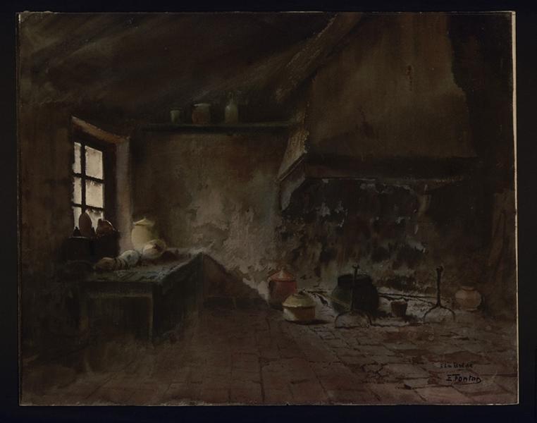 FONTAN Edmond (dessinateur) : Intérieur de vieille cuisine, A La Brède (titre indiqué sur le dessin)