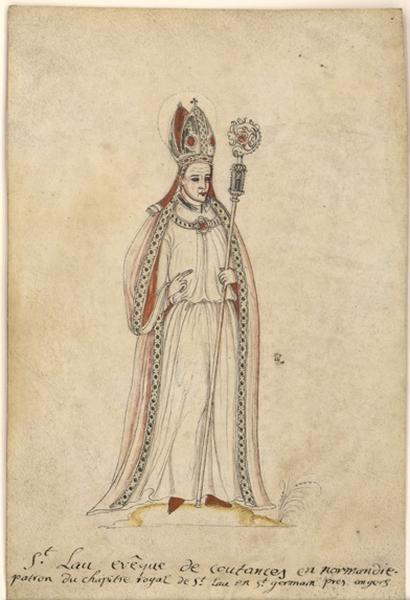 Portrait en pied de saint Laud (recto) ; Vue d'un moulin sur un pont (verso)