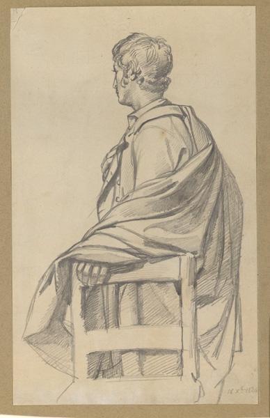 BODINIER Guillaume (dessinateur) : Etude d'un homme appuyé à une chaise, Jeune homme drapé (Titre figurant dans l'inventaire)