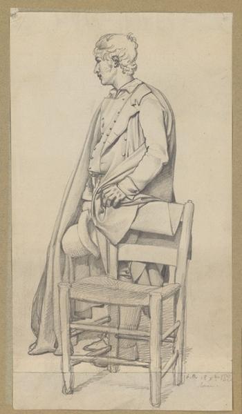 BODINIER Guillaume (dessinateur) : Etude d'un homme appuyé à une chaise, Jeune homme drapé (inventaire)