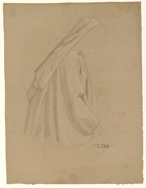 Figures pour la peinture murale de la chapelle Sainte Marie ; Femme voilée à la tête baissée_0