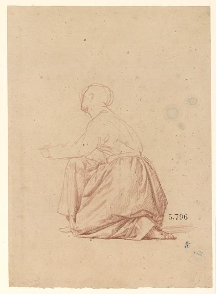LENEPVEU Jules Eugène (dessinateur) : Figures pour la peinture murale de la chapelle Sainte Marie, Femme agenouillée