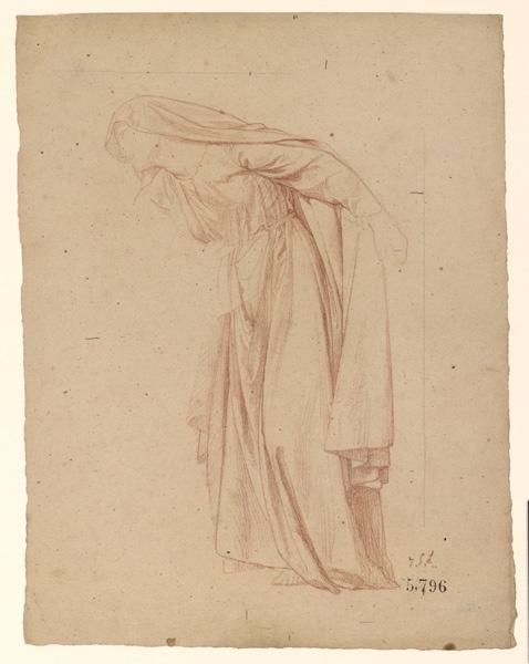 Figures pour la peinture murale de la chapelle Sainte Marie ; Femme penchée vers la gauche ...