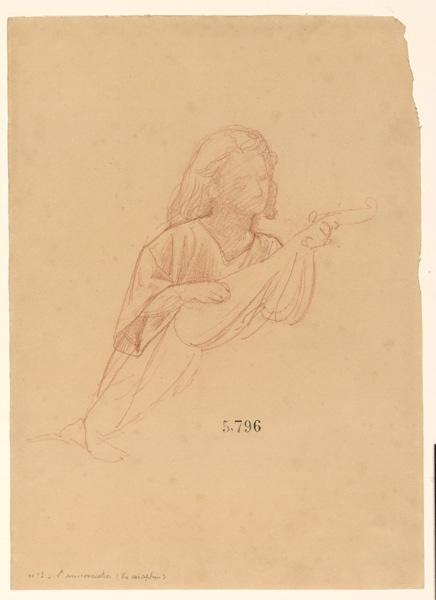 LENEPVEU Jules Eugène (dessinateur) : Figures pour la peinture murale de la chapelle Sainte Marie, L'Annonciation, un séraphin