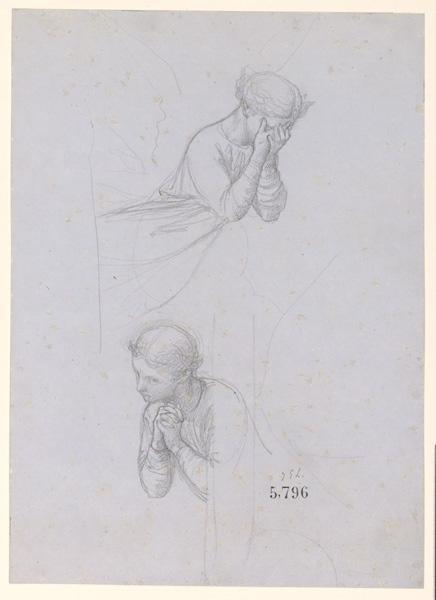 Figures pour la peinture murale de la chapelle Sainte Marie ; Deux études d'ange