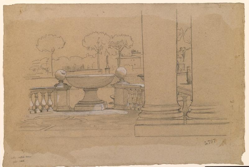 LENEPVEU Jules Eugène (dessinateur) : Vue de la villa Médicis