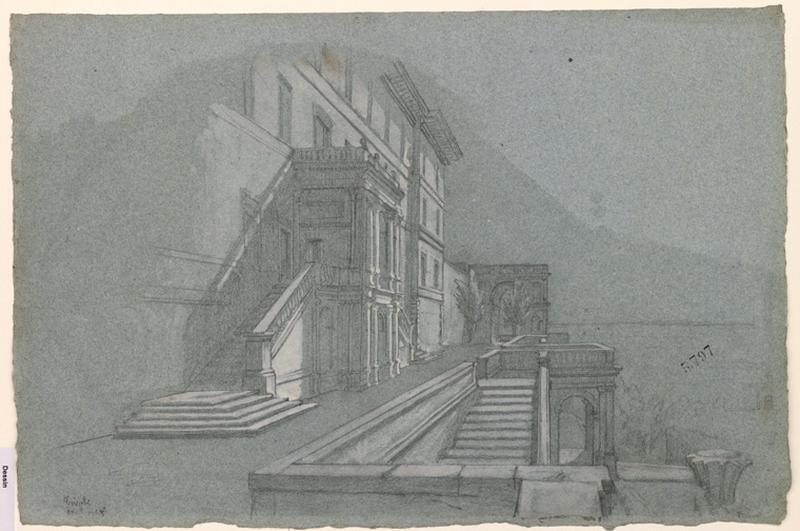 LENEPVEU Jules Eugène (dessinateur) : Vue d'un palais à Tivoli