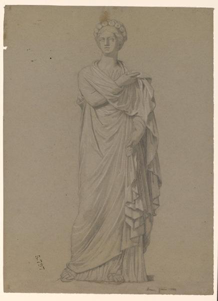 LENEPVEU Jules Eugène (dessinateur) : Une sculpture antique représentant une femme