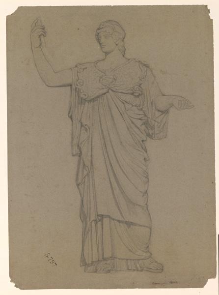 Une sculpture antique représentant une femme