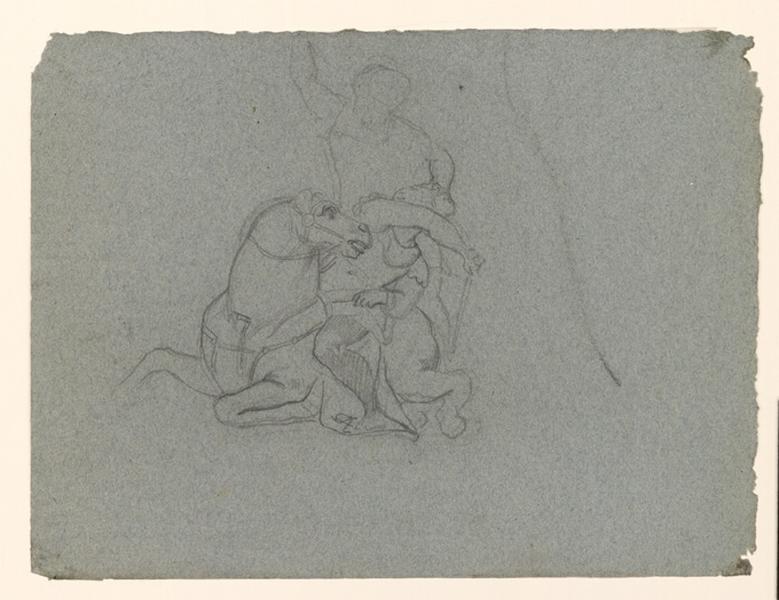 LENEPVEU Jules Eugène (dessinateur) : Etude pour un combat de cavalerie
