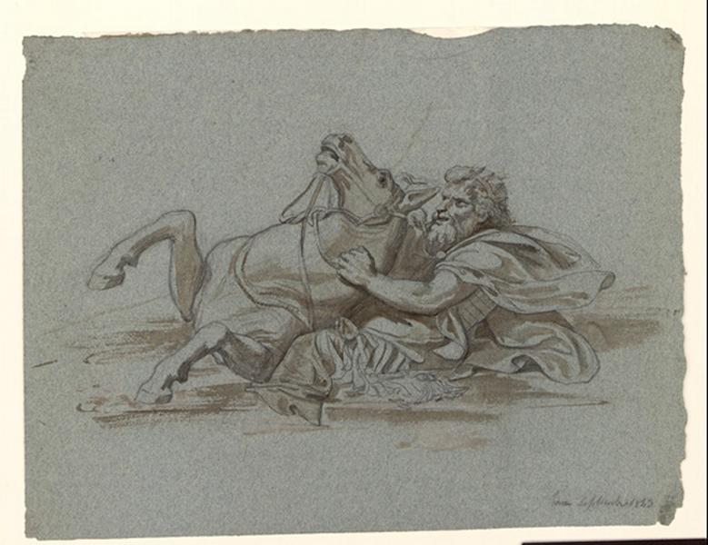 LENEPVEU Jules Eugène (dessinateur) : Cavalier sur son cheval sortant des ondes