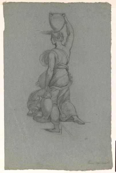 LENEPVEU Jules Eugène (dessinateur) : Etude d'une femme de dos portant une cruche