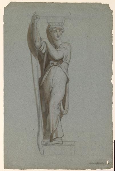 LENEPVEU Jules Eugène (dessinateur) : Etude d'après une sculpture