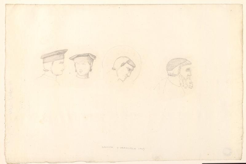 LENEPVEU Jules Eugène (dessinateur), GIOTTO (d'après) : Etude de têtes d'après Giotto