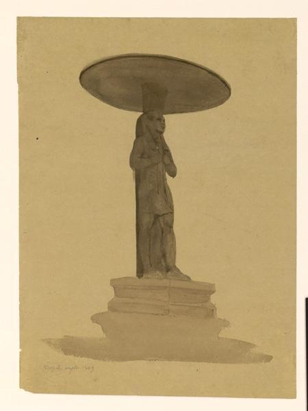 Etude d'une vasque supportée par une statue égyptienne