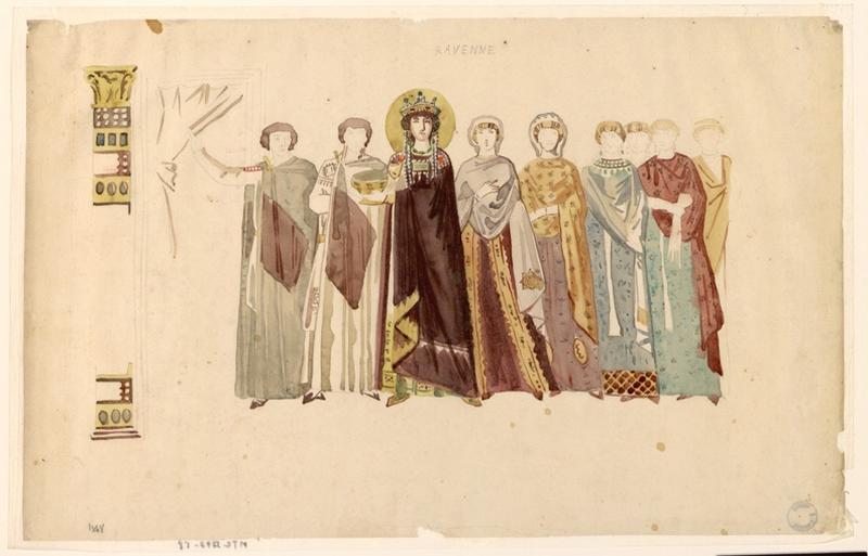 Copie d'après une mosaïque de Ravenne, Théodora et sa suite
