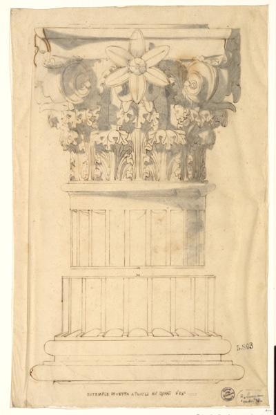 Monuments, figures : Etude d'un chapiteau du temple de Vesta_0